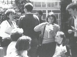 Danielle in courtyard with students