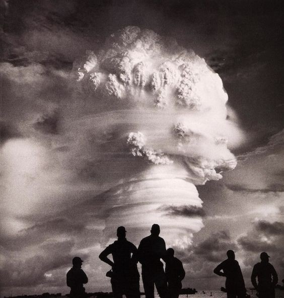 Men watching a nuclear test