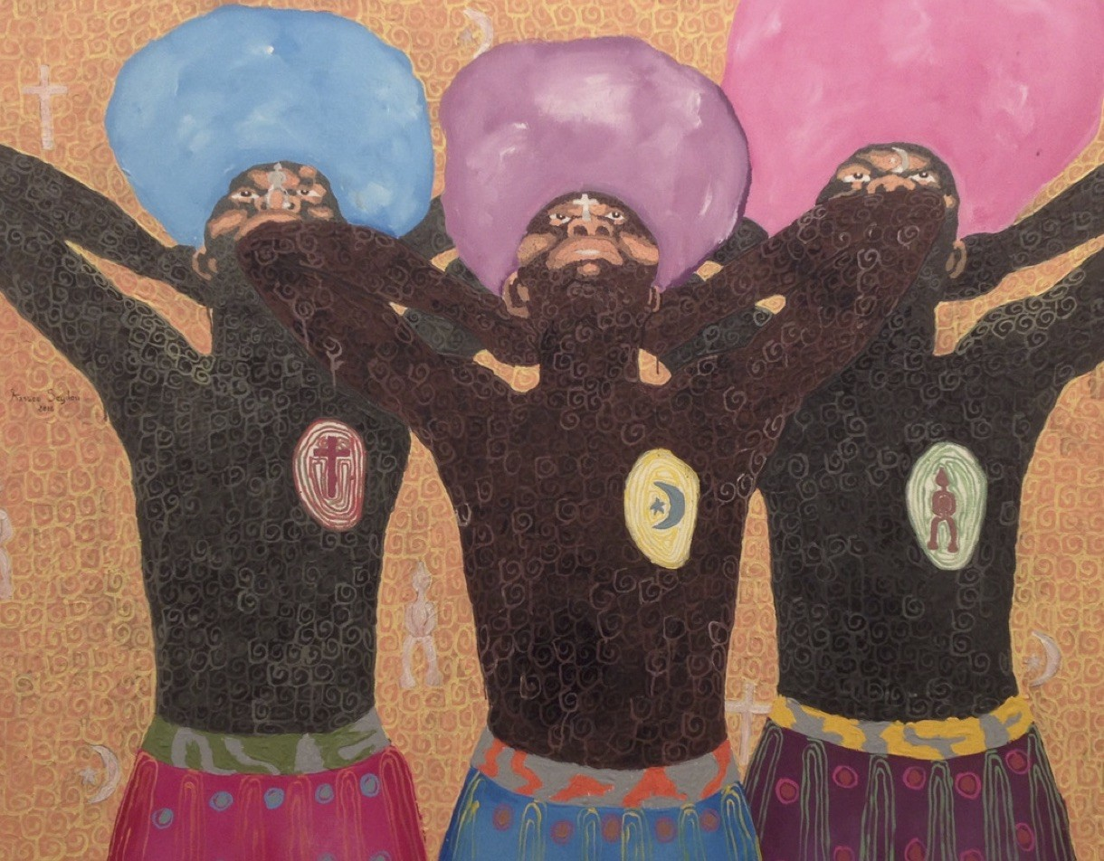 three men arms outstretched