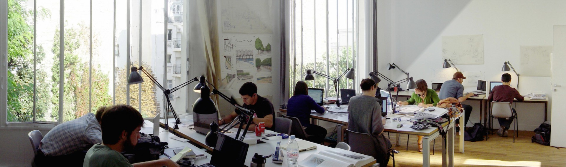 Architecture students at the drawing board