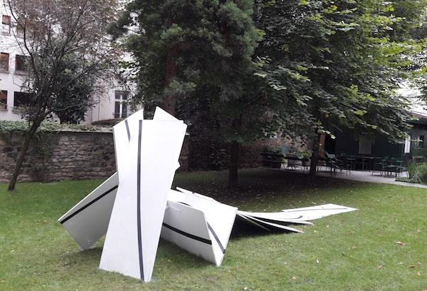 Large black and white sculpture