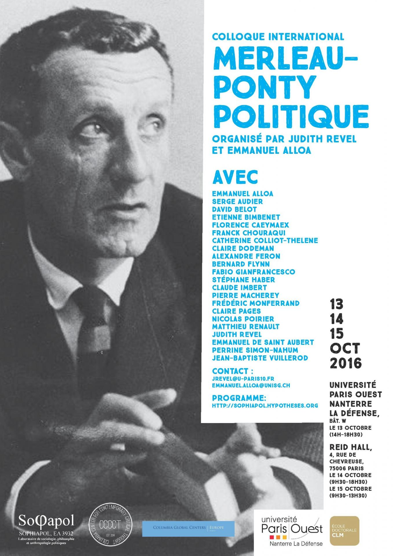 Colloque international : Merleau-Ponty politique, organisée par Judith Revel et Emmanuel Alloa