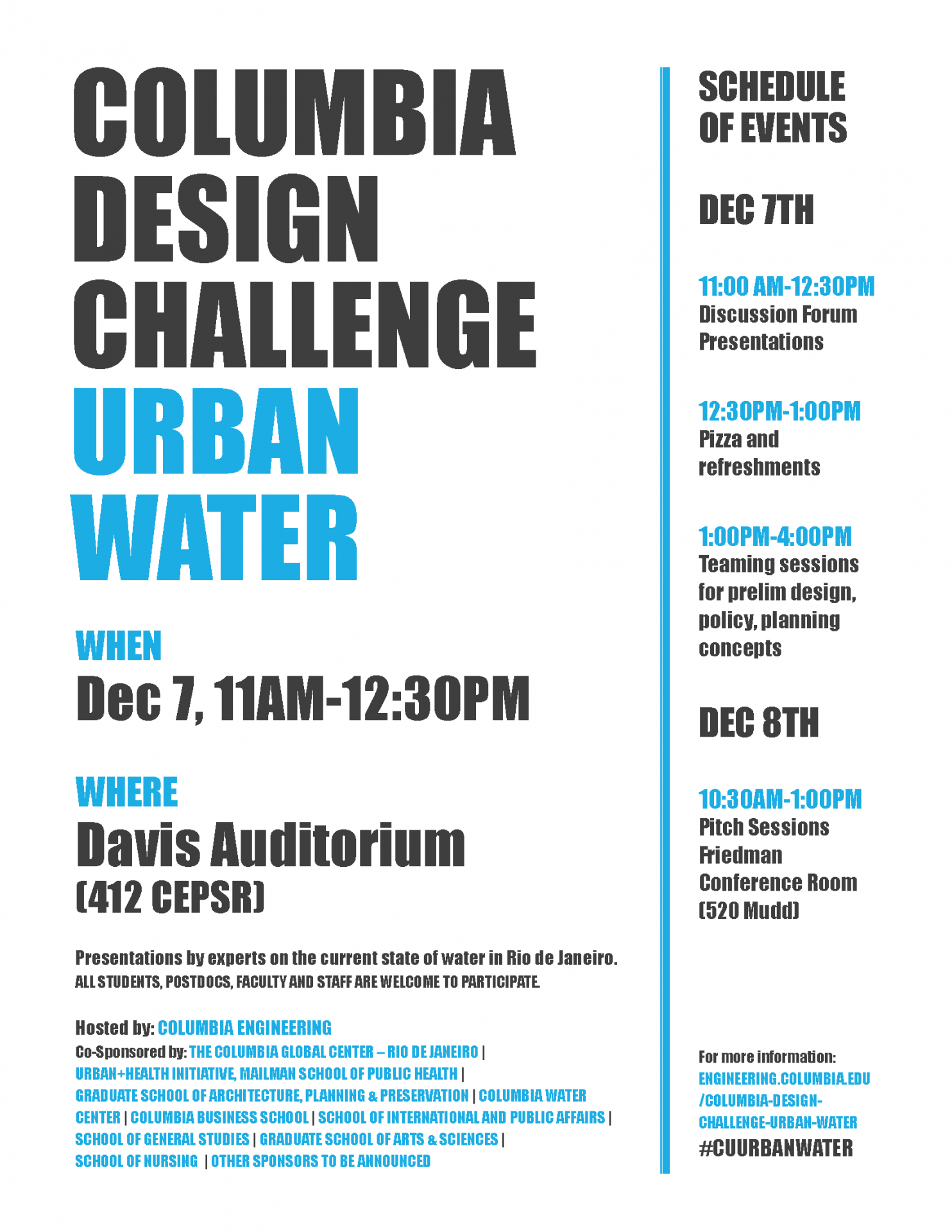 Columbia Design Challenge program schedule