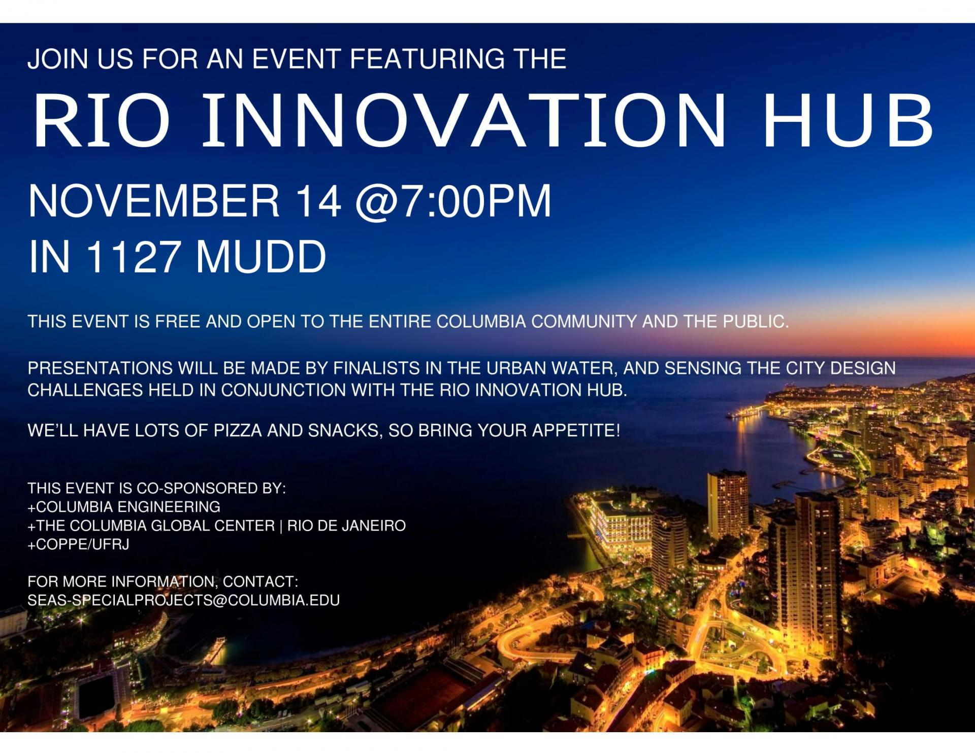 Invitation for the Rio Innovation Hub event in New York