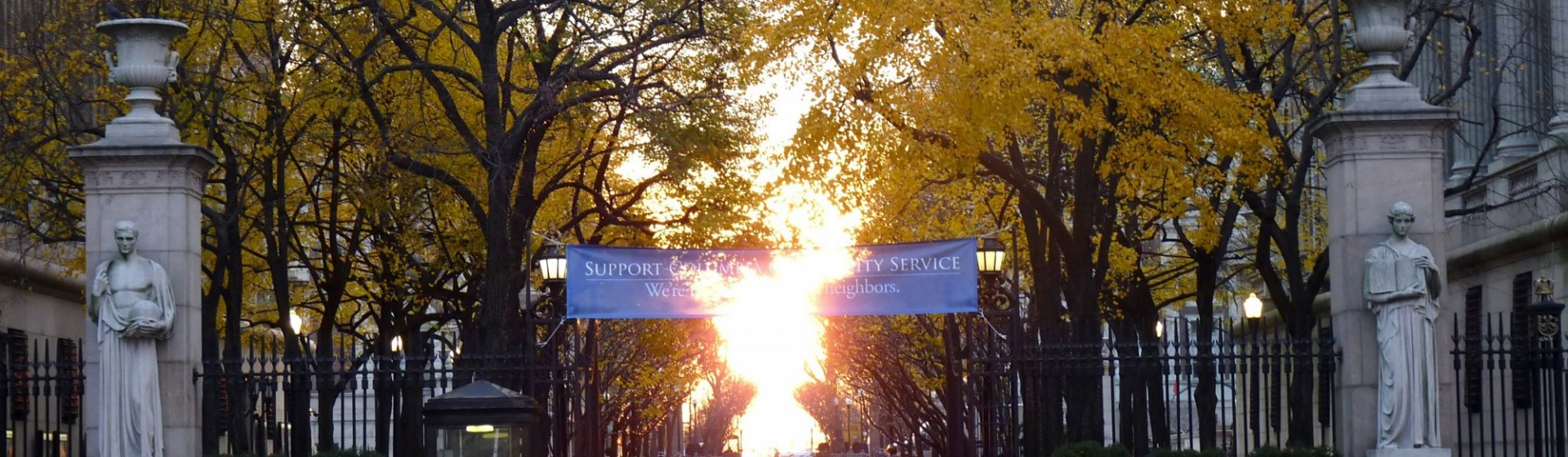 Columbia University gates, sunset during the fall