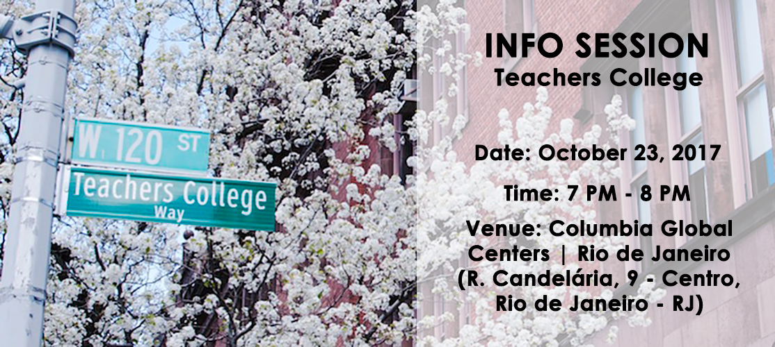 Banner with information about the Teachers College Info Session on October 23