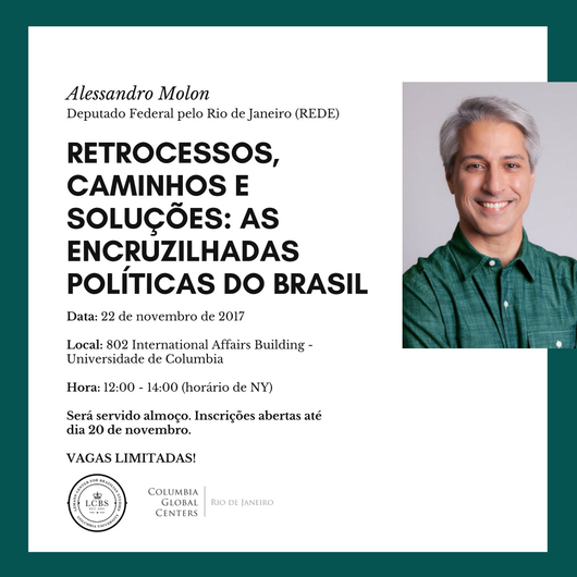 Invitation to the chat with Federal Deputy for Rio de Janeiro Alessandro Molon on campus on November 22