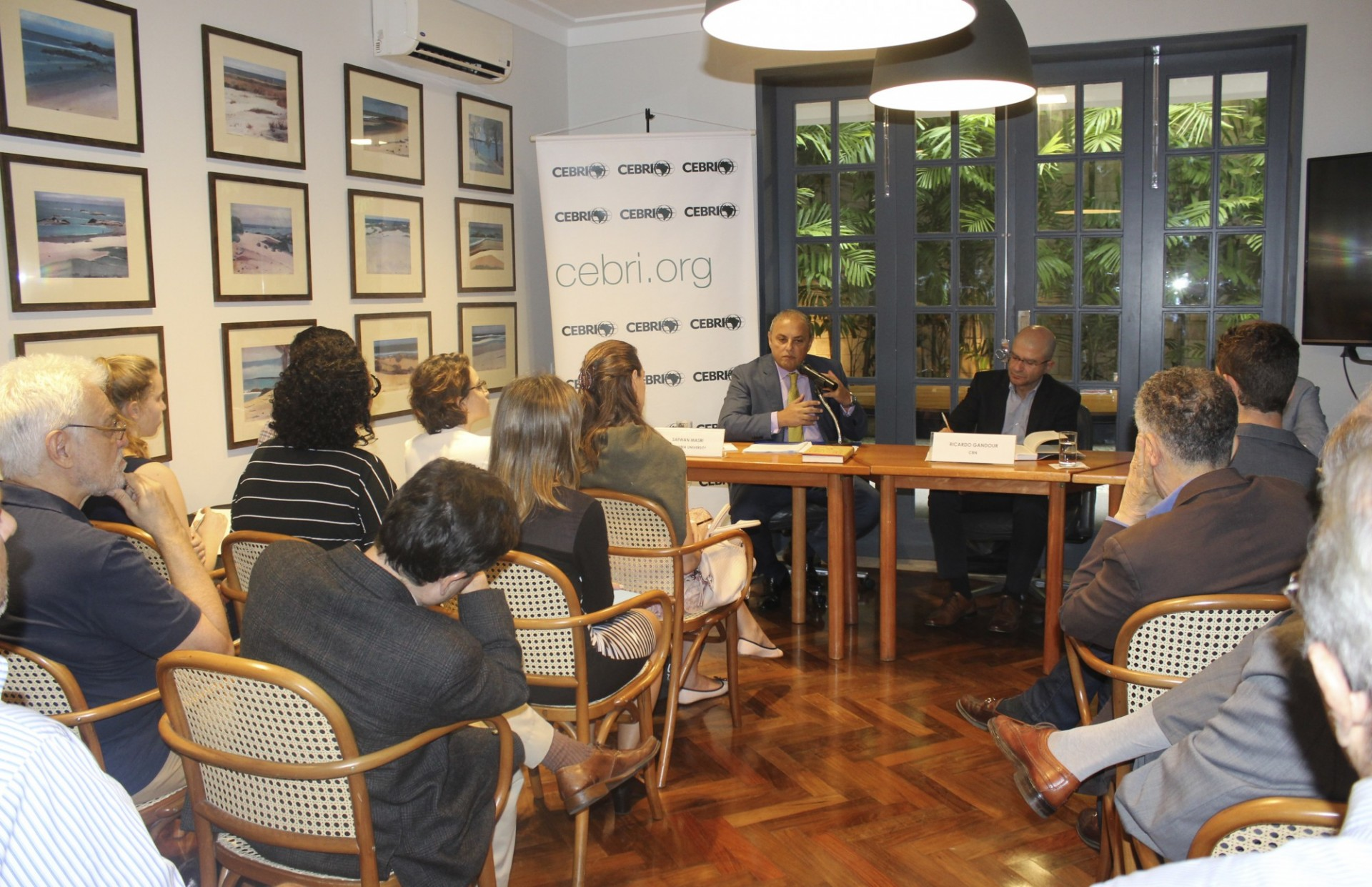 "Safwan Masri during the launch of his book ""Tunisia: An Arab Anomally"" in Rio"