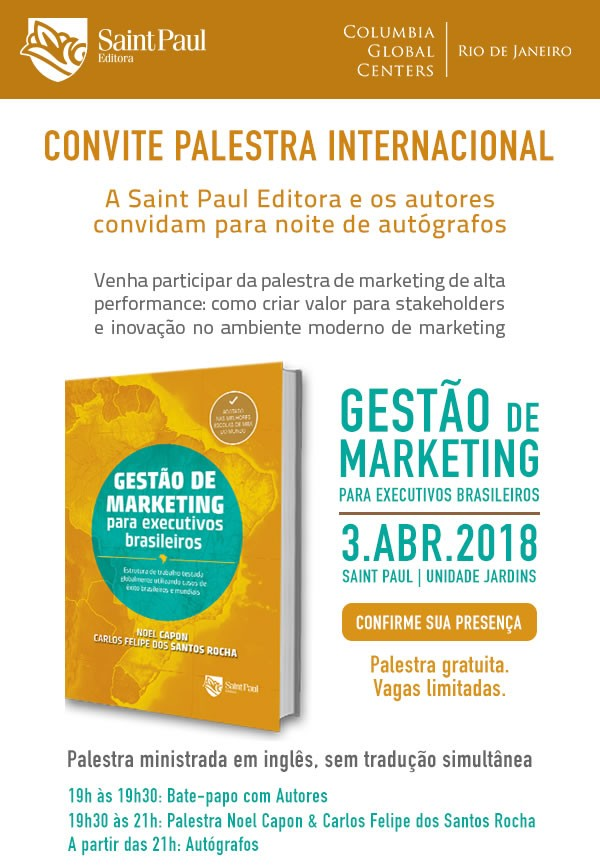 Invitation to Noel Capon's book launch in São Paulo on April 03.