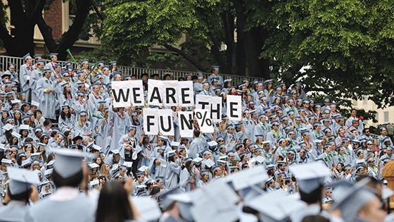 Columbia University students during Commencement