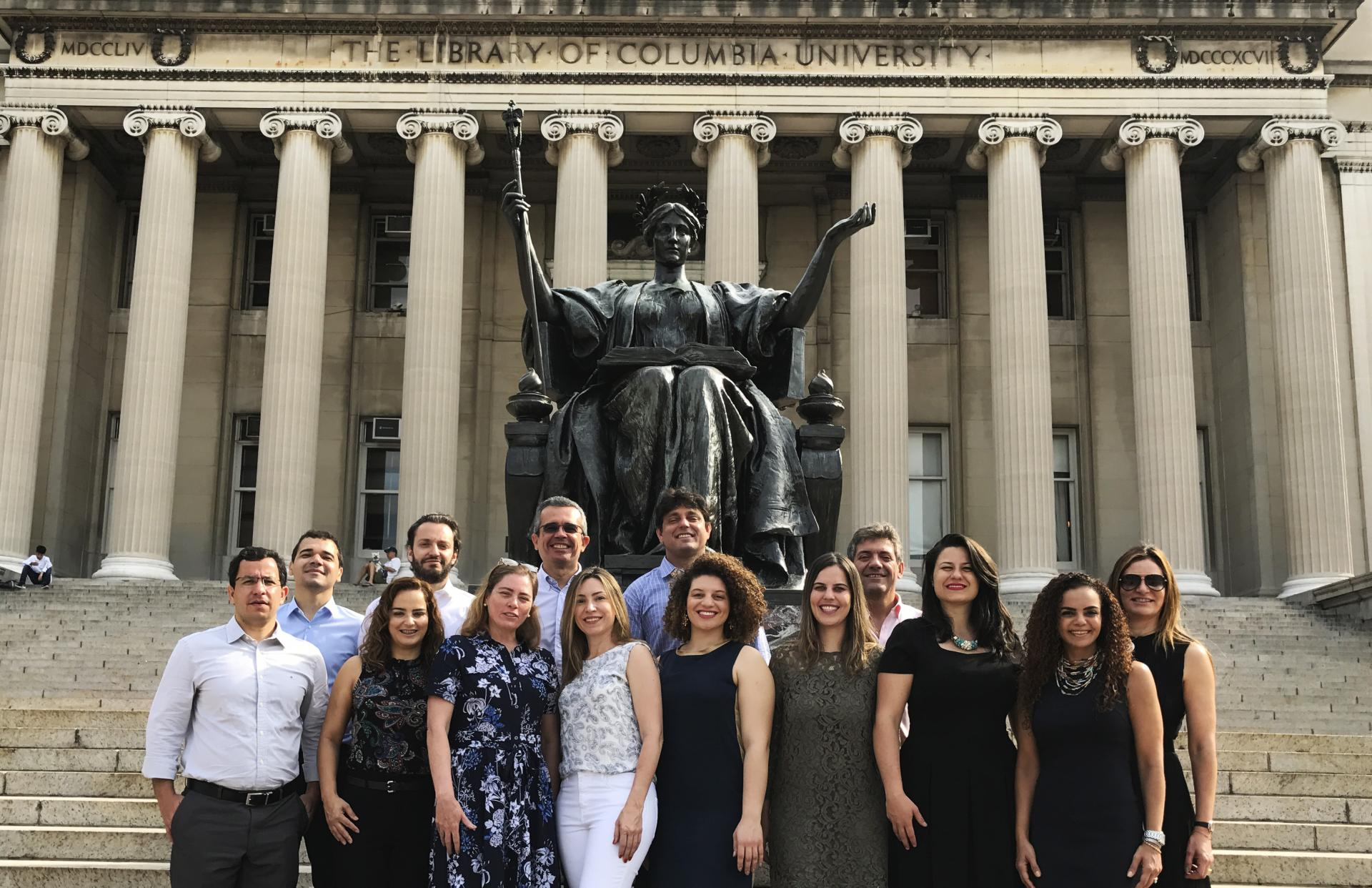 Leadership in a Challenging Century class in front of Alma Mater
