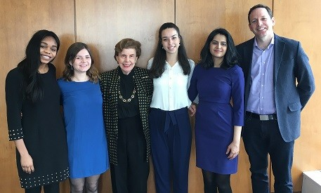 The Capstone workshop team. From left: Veronique Ehamo MIA'18, Marie Wavre MPA'18, Dr. Susan Gitelson MIA'66, Alejandra Baez MIA'18, Wajeeha Bajwa MIA'18, David Dabscheck, Faculty Advisor.  Not pictured: Lilah Greenberg MPA/MS'19, Gabriel Barrientos MPA'18.