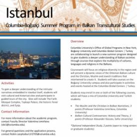 Columbia-Boğaziçi Summer Program in Balkan Transcultural Studies