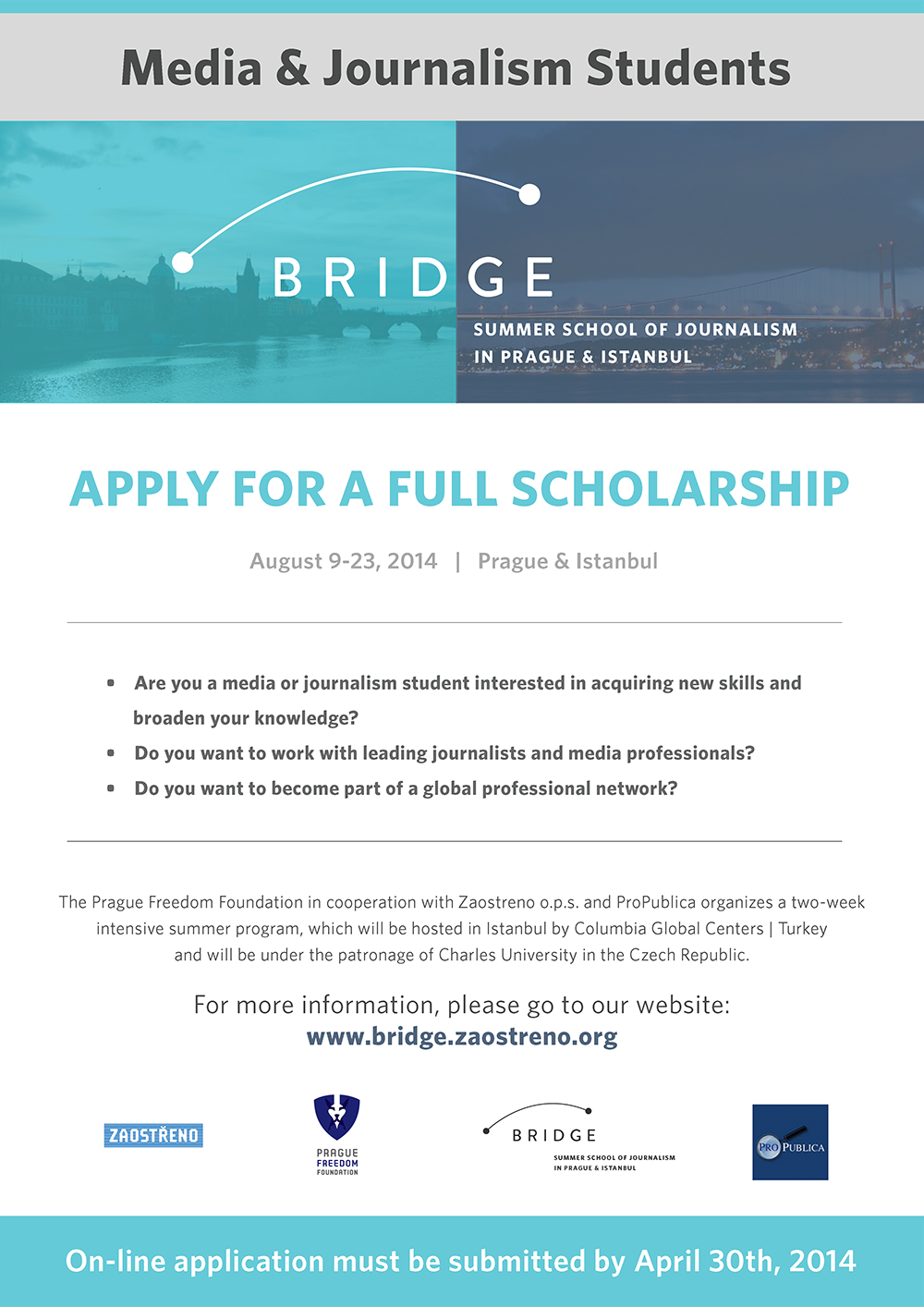 Apply Now for Scholarships to Study Journalism in Istanbul and Prague