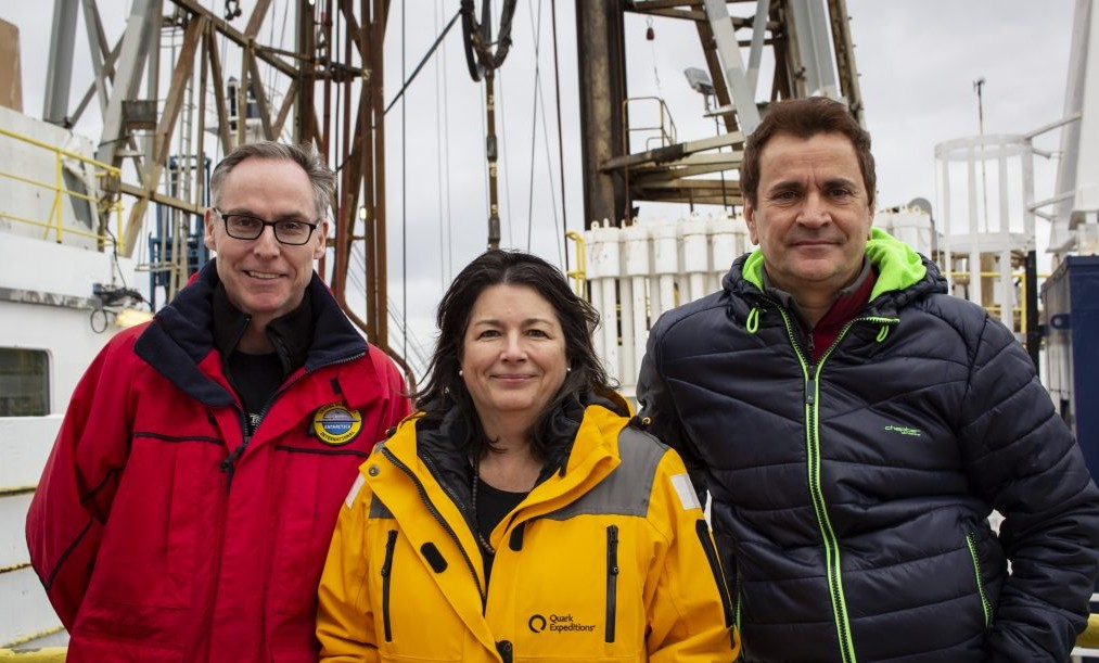 Staff Scientist Trevor Williams, IODP; Co-chief Mo Raymo, Lamont-Doherty Earth Observatory; Co-chief Mike Weber, University of Bonn. Credit: Lee Stevens