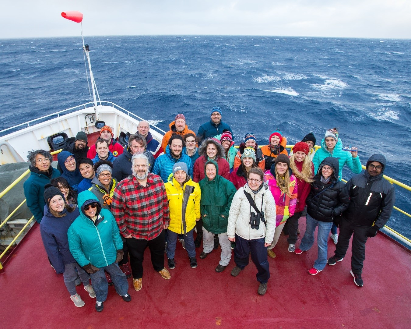 The JOIDES Resolution at sea during research project co-led by Columbia's Gisela Winckler
